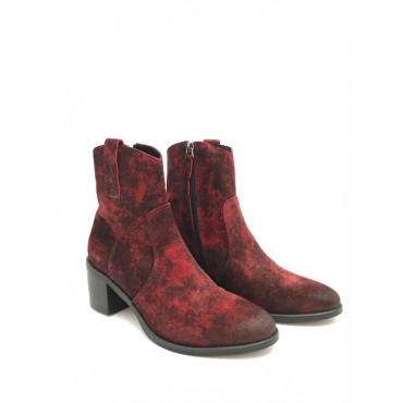 SEMERDJIAN BOTTINE ER712 EN CUIR VELOURS ROUGE